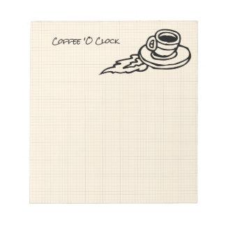 Fliegen-Kaffee Latte Getränk oder Tee-Zeit Notizblock