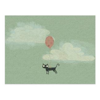 Fliegen-Katzen-Postkarte Postkarte