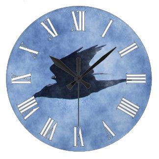 Fliegen-Krähe Tier-Liebhaber Wasserfarbe-Kunst-Uhr Große Wanduhr