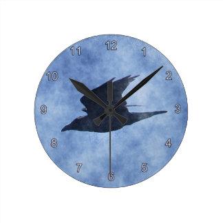 Fliegen-Krähe Tier-Liebhaber Wasserfarbe-Kunst-Uhr Runde Wanduhr