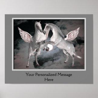 Fliegen-Pegasus-Pferde personalisiert Poster
