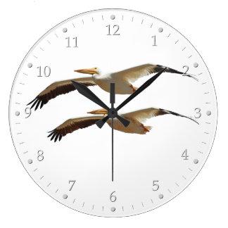 Fliegen-Pelikan 4 Große Wanduhr