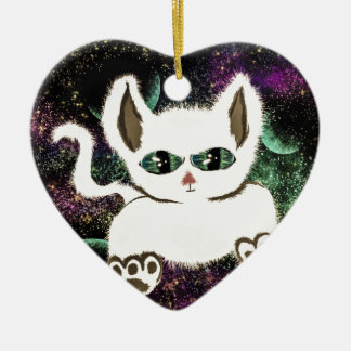 Fliegen-Raum-Katze Keramik Herz-Ornament