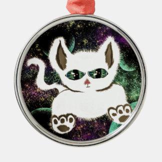 Fliegen-Raum-Katze Rundes Silberfarbenes Ornament