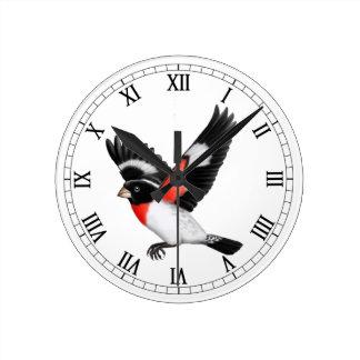 Fliegen-Rose Breasted Grosbeak-Vogel-Wand-Uhr Runde Wanduhr