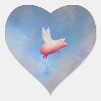 Fliegen-Schwein-Aufkleber Herz-Aufkleber