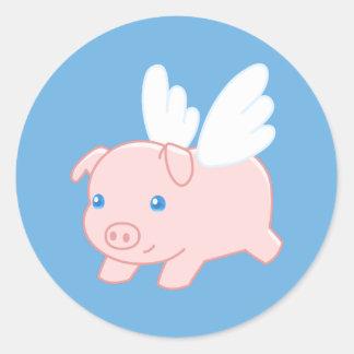 Fliegen-Schwein - Ferkel mit Flügeln Runder Aufkleber