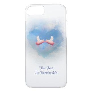 Fliegen-Schwein-Kuss-Unglaubliche Liebe iPhone 8/7 Hülle