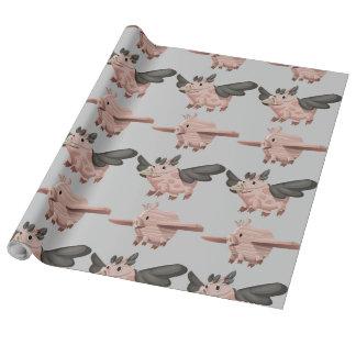 Fliegen-Schwein-Muster Geschenkpapier