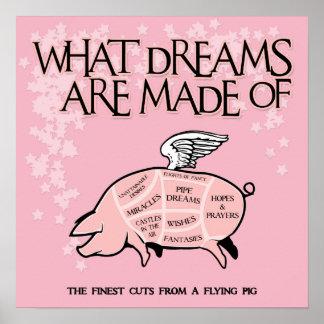 Fliegen-Schwein-Schnitte Poster