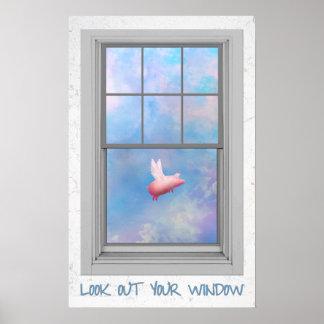 Fliegen Schweinblick unser Ihr Fenster Poster