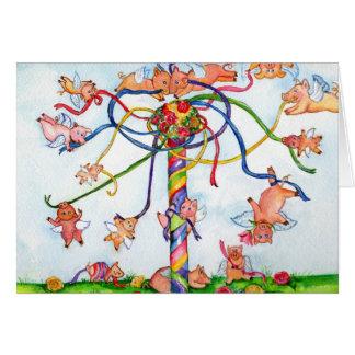 Fliegen-Schweine um den Maibaum Karte