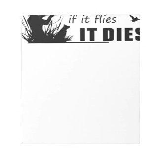 Fliegen stirbt es notizblock