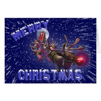 Fliegen Weihnachtsmann u. Rudolph, rotes gerochene Karte