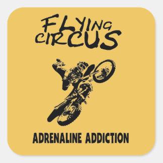 Fliegen-Zirkus Quadratischer Aufkleber