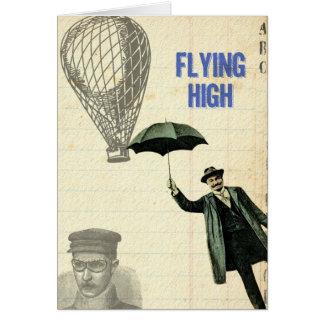 Fliegende hohe Steampunk Collage Karte