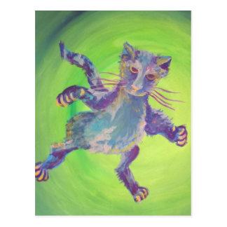 fliegende Postkarte der blauen Katze
