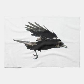 Fliegende schwarze Krähen-Tier-Kunst Geschirrtuch
