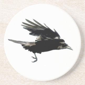 Fliegende schwarze Krähen-Tier-Kunst Getränkeuntersetzer