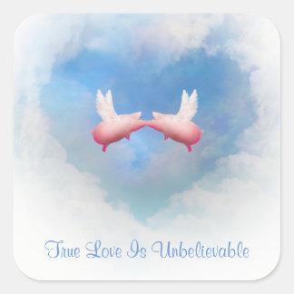 Fliegende Schwein-Kuss-Wahre Liebe ist Quadratischer Aufkleber