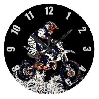 Fliegender hoher Motocross Schmutz-Fahrrad Große Wanduhr