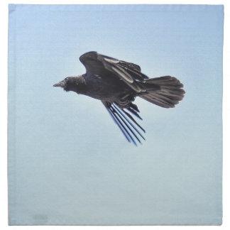 Fliegender Rabe Foto-dem Entwurf in des blauen Serviette