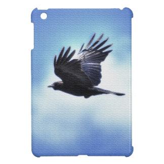 Fliegender Rabe in Foto-Entwurf 2 des blauen iPad Mini Hülle