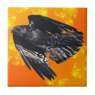 Fliegender schwarzer Rabe Krähe-Liebhaber Fliese