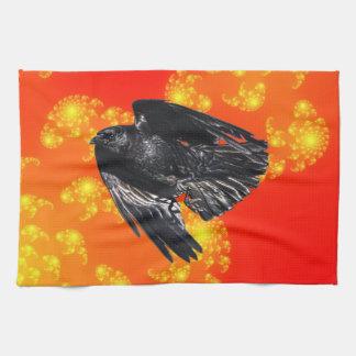 Fliegender schwarzer Rabe Krähe-Liebhaber Geschirrtuch