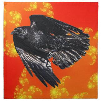 Fliegender schwarzer Rabe Krähe-Liebhaber Stoffserviette