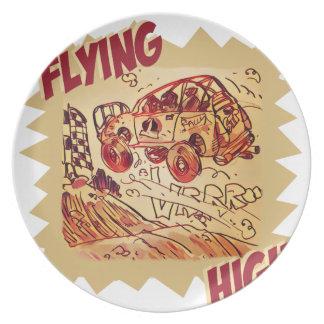 fliegendes hohes Kundgebungsauto Melaminteller