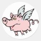 fliegendes Schwein Sau flying pig hog Runder Aufkleber