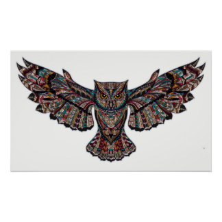 Fliegeneulen-Buntglaswand-Plakatdekoration Poster