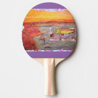Fliegenfischen-Sonnenuntergangkunst Tischtennis Schläger