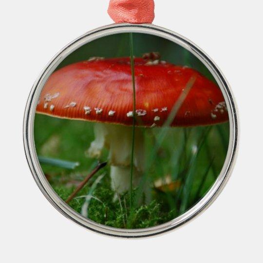 Fliegenpilz Rundes Silberfarbenes Ornament
