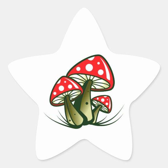 Fliegenpilze toadstools Stern-Aufkleber