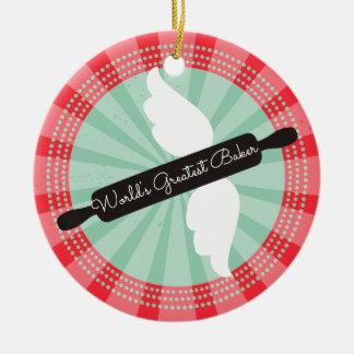 Fliegenrollen-Buttonbäcker Weihnachtsverzierung Keramik Ornament