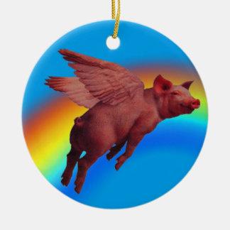 Fliegenschwein-Baumverzierung Rundes Keramik Ornament