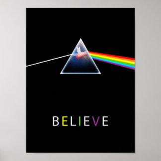 Fliegenschwein im Prisma glauben Poster
