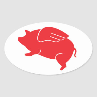 Fliegenschwein 🐷 ovaler aufkleber