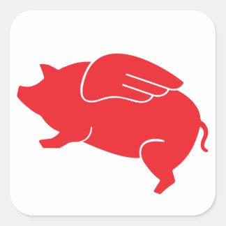 Fliegenschwein 🐷 quadratischer aufkleber