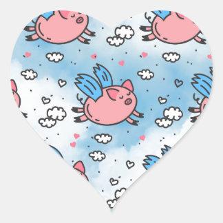 Fliegenschweine Herz-Aufkleber