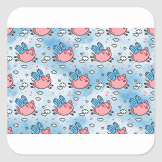 Fliegenschweine Quadratischer Aufkleber