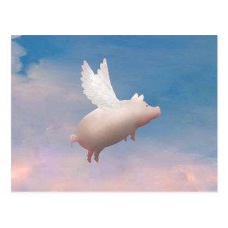 Fliegenschweinpostkarte Postkarte