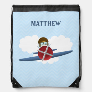Flieger und sein Flugzeug Sportbeutel