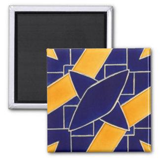 Fliese 1 - blau / gelb quadratischer magnet