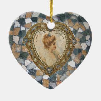 Fliese und Herz mit Frauen-Valentinsgrüßen Weihnachtsbaum Ornamente