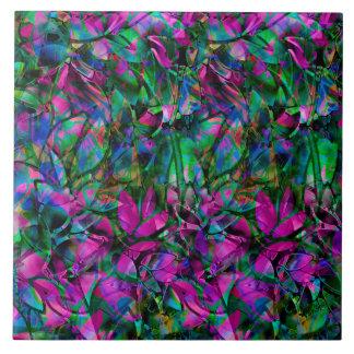 Fliesen-abstraktes beflecktes mit Blumenglas Große Quadratische Fliese