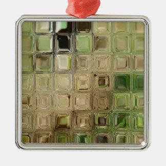 Fliesen des grünen Glases Quadratisches Silberfarbenes Ornament