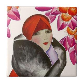 Fliesen-Vintage hohe Mode-Dame Woman Hautecouture